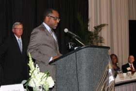 Ed Bryant speaks during the St. Louis Minority Business Council Lunch Program on June 12.