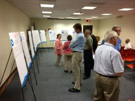 MoDOT held its first public hearing on the transportation tax project list at the Mid-County Branch of the St. Louis County Library in Clayton.