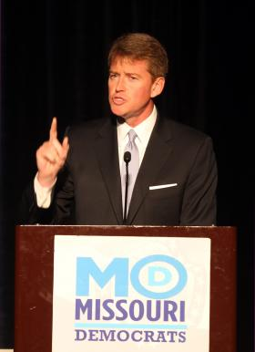 Missouri Attorney General Chris Koster makes remarks at the Jefferson Jackson dinner in St. Louis.
