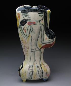 Phooey, 2014, porcelain, glazes, underglazes, oxide wash, 15 x 7 x 7 inches