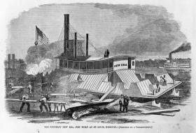 Newspaper illustration depicting the gunboat USS New Era, later USS Essex in the final stages of completion in 1861 in  St. Louis.
