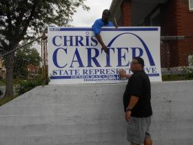 Chris Carter, Sr., right, is making his first run for political office. Carter's family is well-known throughout St. Louis City politics.