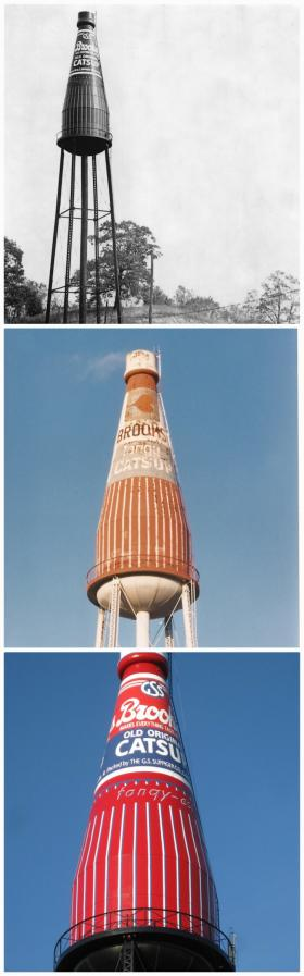 During its 65 years of existence, the catsup bottle tower cycled through a few paint jobs.
