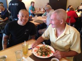 Host Steve Potter and Qui Tran prepare for today's segment at Mai Lee.
