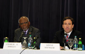 Democratic candidates for St. Louis County Executive Charlie Dooley and Steve Stenger.