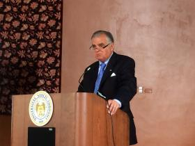 Former U.S. Transportation Secretary Ray LaHood speaks on Tuesday at a St. Louis Regional Chamber event. The former Illinois Republican congressman is supporting an effort to raise the federal gas tax.
