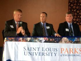 From left: Rep. Dave Hinson, R-St. Clair, BJC Healthcare Group President Robert Cannon and former Sen. Bill McKenna participate in a panel on Amendment 7. All four panelists were supportive of the 0.75 percent sales tax increase.