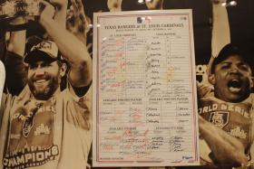 The St. Louis Cardinals museum at Ballpark Village has Tony La Russa's lineup cards from the 2006 and 2011 World Series games.