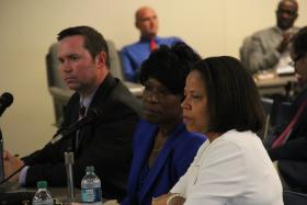 From left: Chief Financial Officer Scott Hafertepe, Superintendent Joylynn Pruitt and Executive Director of Student Services Bernadette White answer questions during a work session.