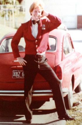 Mike Heet showing off the Muny usher uniform in 1980 or '81