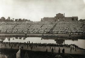 The view of the crowd from the stage of the Pageant and Masque held in Forest Park from May 28-31, 1914. The production brought to life the story of the founding of St. Louis 150 years earlier.