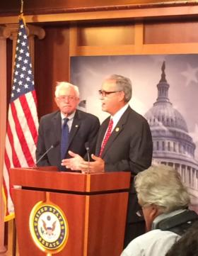 Sen. Bernie Sanders, I-Vt., and Rep. Jeff Miller, R-Fla., explain the compromise to their efforts to reform the Department of Veterans Affairs.
