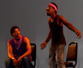 Romiyus Gause, right, plays troubled teenager Bobby, in St. Louis Now.