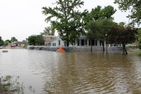 A house in Clarksville, Mo. is ready for the rising waters on Saturday, July 5, 2014.