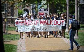 Washington University students march in support of Michael Brown