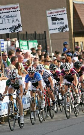 A pack of cyclists bears down for a sprint during last year's Gateway Cup.