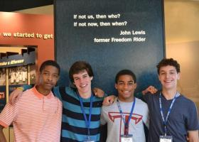 Cultural Leadership students (left to right) Mikal Smith, Ian Madden, Aaron Garriga and Ben Schenberg at the Little Rock National Historic Site Visitors Center in Little Rock, Ark., in 2013.