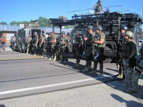 The police line along West Florissant in Ferguson on Wednesday.