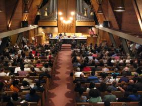 About 400 people gathered for community forum at Christ the King United Church of Christ in Florissant on Tuesday evening.