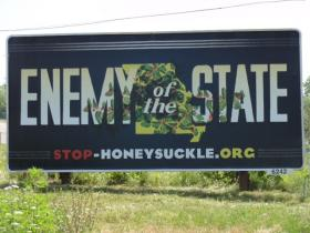 These billboards are part of an invasive honeysuckle education campaign, by the environmental fundraising organization Magnificent Missouri. Dan Burkhardt, who founded Magnificent Missouri, is a major donor to St. Louis Public Radio.