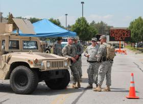 Since Aug. 18, National Guard troops have been deployed to Ferguson, guarding the police command at the Northland Shopping Center.