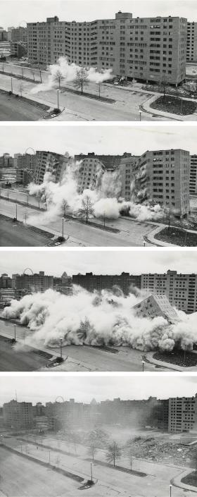 April 1972, Pruitt-Igoe buildings are imploded