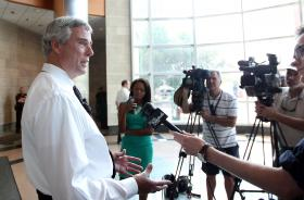 St. Louis County Prosecuting Attorney St. Louis County Prosecuting Attorney Bob McCulloch talks with reporters about the 32 people arrested for looting during a riot in Ferguson.