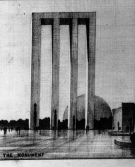 The monument proposed by Eliel Saarinen, Eero's father, who also entered the competition.