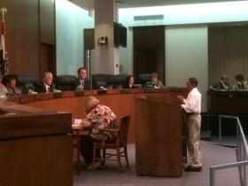 Marquis Govan speaks before the St. Louis County Council last Tuesday.