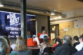 Steve Case talks with entrepreneurs at a Rise of the Rest stop in Pittsburgh earlier this year.