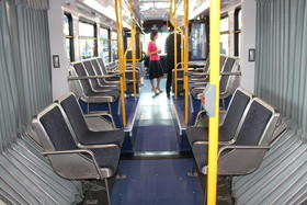 The interior of one of the new Metro buses.