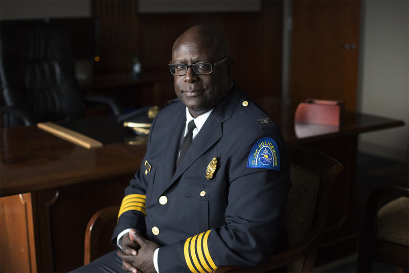 St. Louis Metropolitan Police Chief John Hayden poses for a portrait in his office at police headquarters on Olive Street.