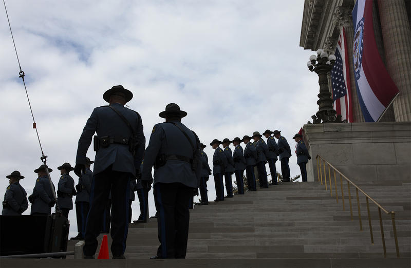 State troopers stand outside the Missouri State Capitol at the start of the ceremony on Jan. 9, 2017.