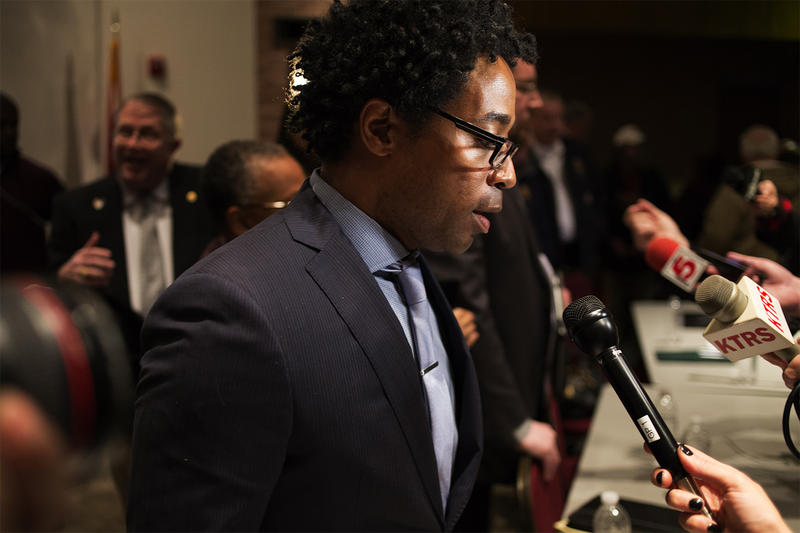 Council member Wesley Bell answers questions from reporters.