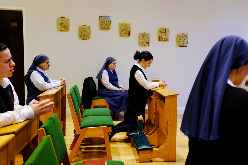 The Daughters of St. Paul gather for prayer in the chapel of the bookstore.