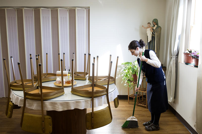 Postulant Orianne Dyck helps with housecleaning chores in the convent of the Daughters of St. Paul in Crestwood.