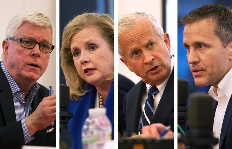 Peter Kinder, Catherine Hanaway, John Brunner and Eric Greitens speak at St. Louis Public Radio's GOP gubernatorial candidate debate.