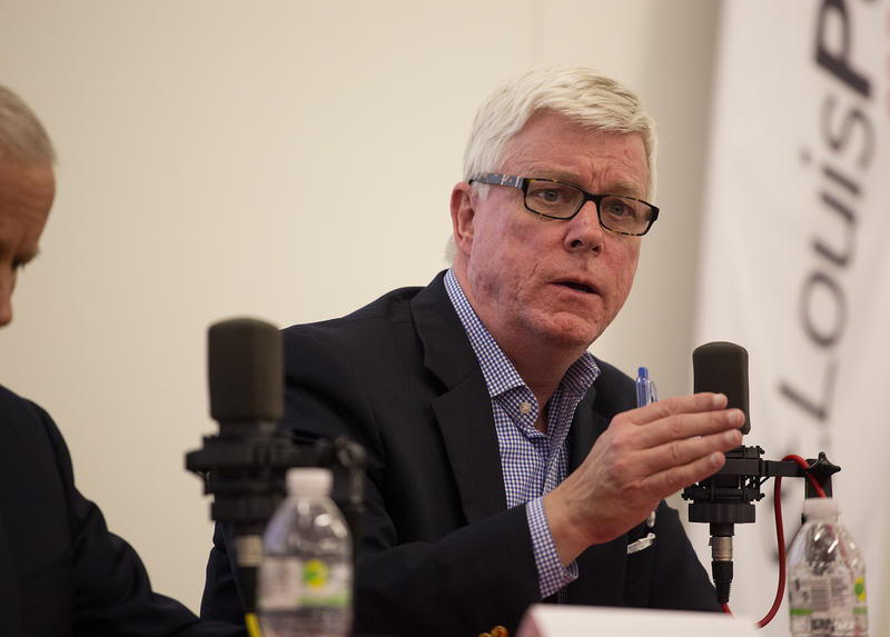Peter Kinder answers a question during St. Louis Public Radio's GOP gubernatorial candidate debate.
