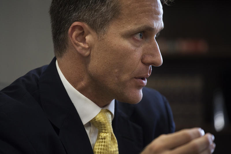 Missouri Gov. Eric Greitens sits  for an interview with St. Louis Public Radio in downtown St. Louis on July 17, 2017.