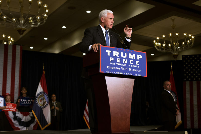 Republican vice presidential nominee Mike Pence speaks to a crowd of supporters at a Chesterfield DoubleTree on Tuesday afternoon.