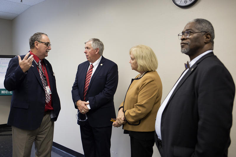 Stan Shoun, president of Ranken Technical College, guides Gov. Mike Parson, St. Louis Mayor Lyda Krewson and Kansas City, Missouri Mayor Sly James through the school on Sept. 7, 2018.