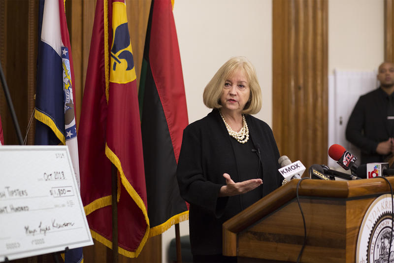 St. Louis Mayor Lyda Krewson answers questions from reporters during a press availability at City Hall on Oct. 24, 2018.
