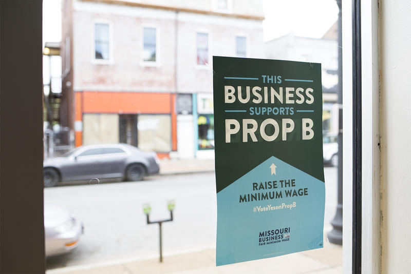 A sign in support of Prop B hangs at Bridge Bread on Cherokee Street.