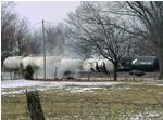 Sixteen tanker cars derailed in Tamaroa, Ill. Sunday.