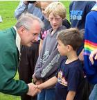 Missouri Gov. Bob Holden meets with residents near De Soto Jr. High School.