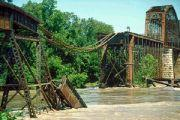 This railroad bridge at Glasgow, Mo. near Columbia washed out in 1993.