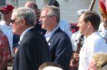 U.S. Senator Kit Bond, Missouri Governor Bob Holden and St. Louis Mayor Francis Slay at the Eads Bridge rededication Friday.