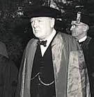 Sir Winston Churchill, at his 'Iron Curtain' speech at Westminster College campus on March 5, 1946. (photo from Westminster College)
