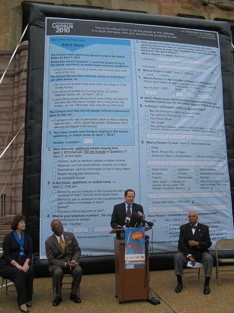 Mayor Francis Slay at a Census kickoff event outside City Hall in March of 2010. Census results show both MO and IL losing a Congressional seat.