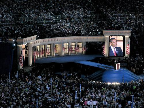 The scene at the Democratic National Convention in Denver, Colorado in 2008. St. Louis is said to be one of the top two potential cities to host the convention in 2012. (Flickr Creative Commons User ravedelay)